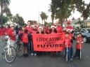 Faculty members form Long Beach City College attend the Daisy Lane parade.